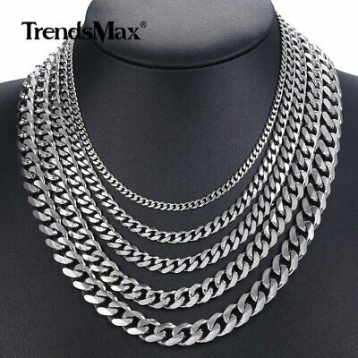 """18-36"""" Mens Stainless Steel Silver Curb Cuban Link Chain Necklace 3/5/7/9/11MM"""
