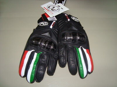 Guanti Gloves In Pelle Moto Oj Fighter Flag Italia Tg S