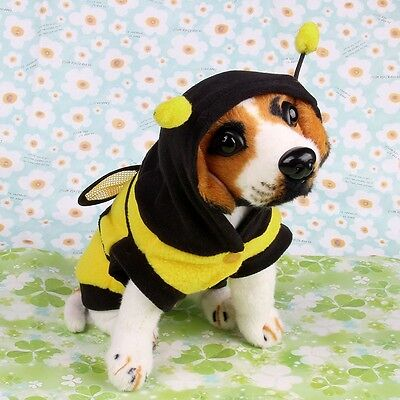 Pet Dog Cat Clothes Coat Puppy Polar Fleece Hoodie Outfits Bee Style Size S-10