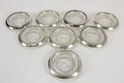 """Sterling Silver STC Rimmed Glass Coasters Vtg Set Of 8 Each Is 4"""" Diam"""