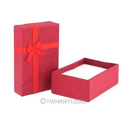 Red Paper Jewelry Box For Earrings Ring Bowtie Square Dust Protect Gift Box1 PCS
