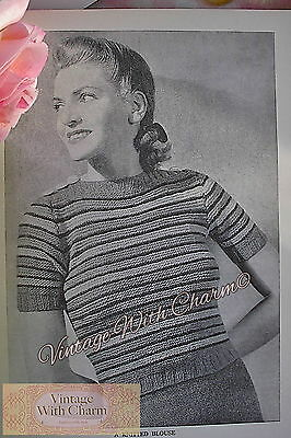 Vintage 1940s Knitting Pattern Lady's Pretty Blouse Style Jumper In 4 Colours!