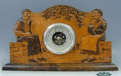 Antique French Table Barometer Set In Carved Wood Stand