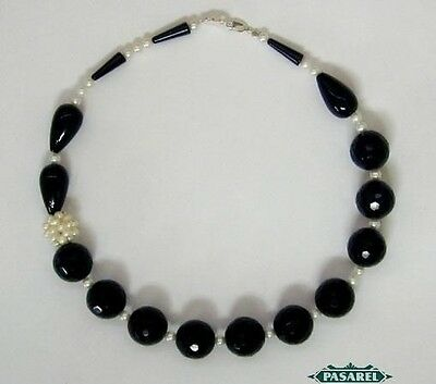 Stunning Art Deco Style Black Onyx Pearls Necklace