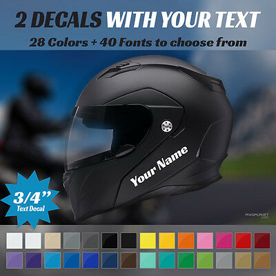 """2 Custom 3/4"""" Decals - 2 Stickers With Your Text -  For Motocycle Moto Helmet"""
