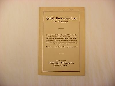 Original Victor Phonograph Record Catalog - Salesperson Reference List Form 2736