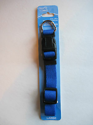 """Paws N Claws BLUE Durable Nylon Adjustable Dog Collar (14""""-20""""), FREE S&H"""