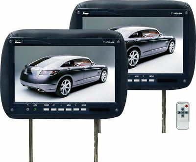 "PAIR NEW TVIEW T110PL-BLACK 11.2"" CAR HEADREST MONITORS w/IR"
