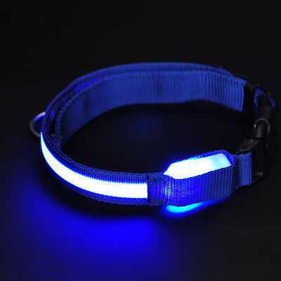 Dog Pets LED Lights Flash Nylon Collar Night Safety Waterproof Adjustable M BLUE