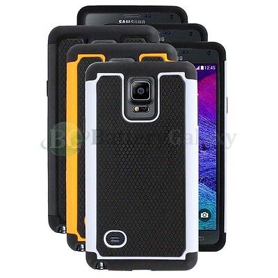 Lot of 3 Black/Orange/White Hybrid Rugged Rubber Case for Samsung Galaxy Note 4