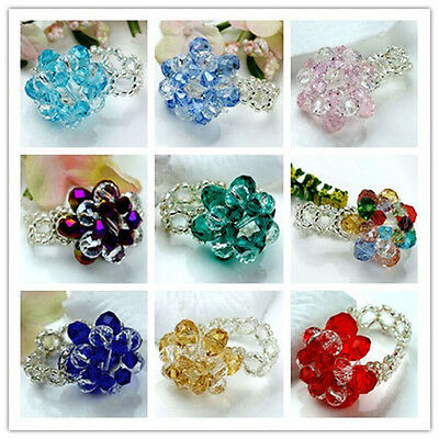Women's Faceted Crystal Glass Beads Flower Fashion Finger Ring Jewelry