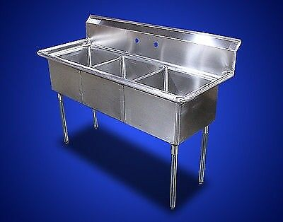 New Commercial Kitchen Stainless Steel (3) Three Compartment Sinks Table 60 x 24
