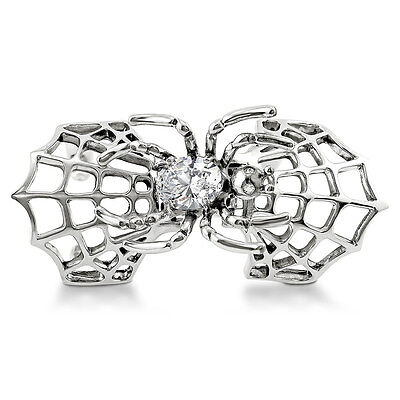 BERRICLE Sterling Silver CZ Spider Right Hand Cocktail Armor Knuckle Ring