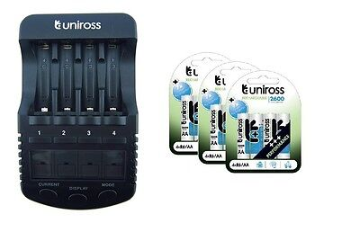 UNiROSS ULTIMATE INTELLIGENT SMART Charger AA AAA+ 12 x AA 2600 Batteries
