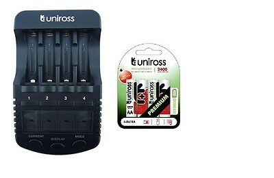 UNiROSS ULTIMATE INTELLIGENT SMART Charger AA AAA+ 4 x AA Hybrio 2400 Bats