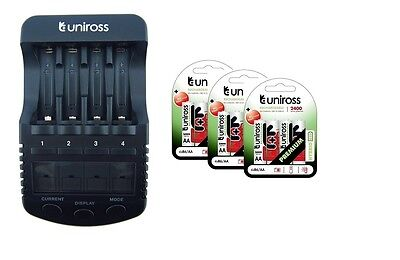 UNiROSS ULTIMATE INTELLIGENT SMART Charger AA AAA+ 12 x AA Hybrio 2400 Bats