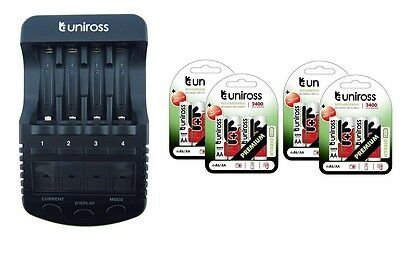 UNiROSS ULTIMATE INTELLIGENT SMART Charger AA AAA+ 16 x AA Hybrio 2400 Bats