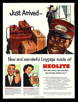 "Original 1951 ""neolite Luggage"" Black Americana Red Cap Art Print Ad"