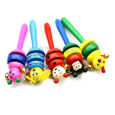 Creative Jingle Hand Bells Kids Wooden Toddler Baby Music Educational Toy Gift