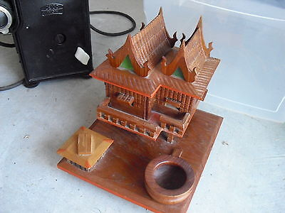 Unique Antique Wood Cigarette Holder Asian House LOOK