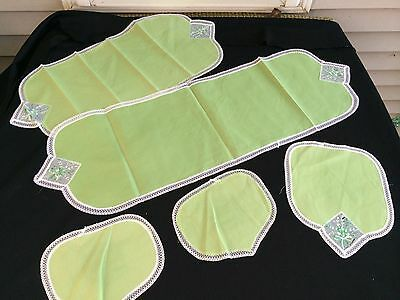 VINTAGE GREEN FIVE PIECE DRESSER SET WITH WHITE LACE TRIM