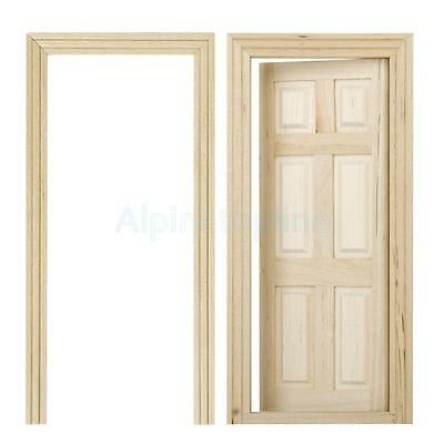 Fashion Miniature 6-Panel Interior Door Wooden for 1/12 Dollhouse Accessory New