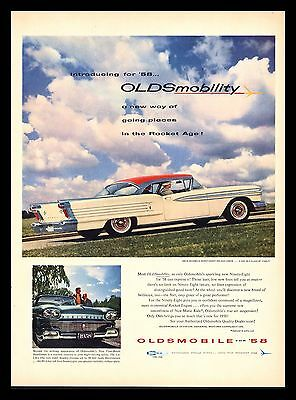 "Original 1958 ""oldsmobile Ninety Eight"" Classic Car Vintage Print Ad"