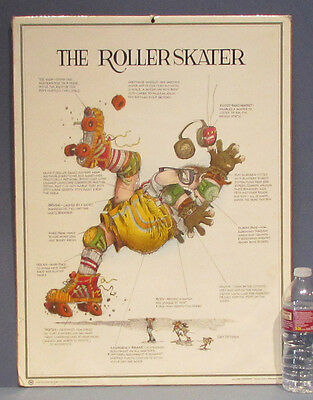 1980 VINTAGE POSTER THE ROLLER SKATER BY GARY PATTERSON * VERY FUNNY * FREE SHIP