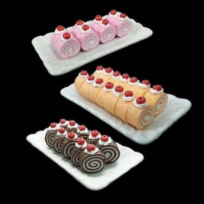 Lot 30 Mix Color Cake Cream Roll + Tray Pastry Dollhouse Miniatures Food Supply