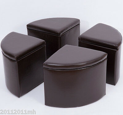 HOMCOM Circular Storage Ottoman Stool PU Leather Cover 4 Sections Home Furniture