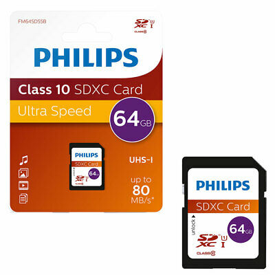 NEW 64GB Philips SD SDXC SD Memory Card 40MB/s CLASS 10 64GB