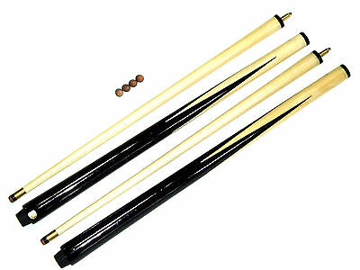 """2 PIECE 2 x SHORT POOL 36"""" CUES. IDEAL FOR KIDS & SMALL SPACES + 4 FREE TIPS"""
