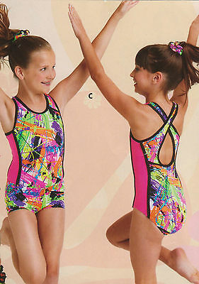 NWT Axis Gymnastic Dance Leotard Multi Color Paint Splatter Girls Int Child 6X-7