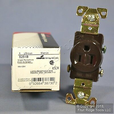New Cooper Brown Industrial Grade Single Outlet Receptacle NEMA 5-15R 15A 5251B