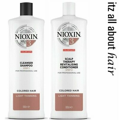 Nioxin System 3 Cleanser Shampoo & Scalp Revitaliser Conditioner 1 Litre Duo