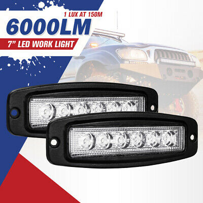 2x 7inch 30W CREE LED Light Bar Driving Flood Work Lamp Flush Mount Reverse 4WD