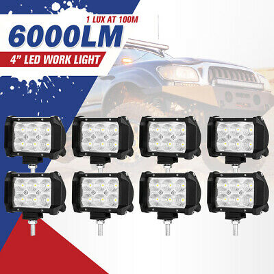 8X 4inch CREE LED Work Light Bar SPOT Beam Offroad Lamp Save On 35W/45W Reverse
