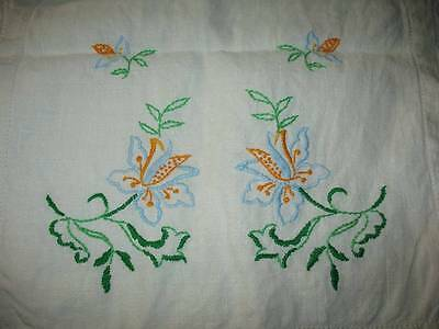 """Vintage Runner W Hand Embroidery Blue Jacobean Style Floral 14"""" X 37"""" ~H470-T01"""