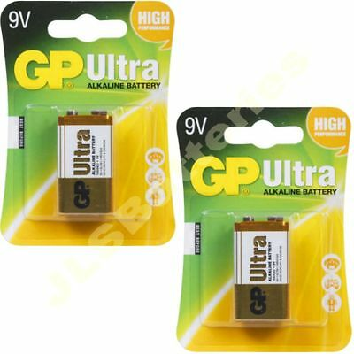 2 x GP ULTRA 9V Batteries MN1604 6LR61 PP3 BLOCK 6LF22 ALKALINE