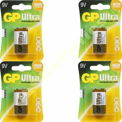 4 x GP ULTRA 9V Batteries MN1604 6LR61 PP3 BLOCK 6LF22 ALKALINE