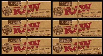 6 PACKS RAW 1 1/4 size CONNOISSEUR ORGANIC Hemp Rolling Papers with Tips vegan