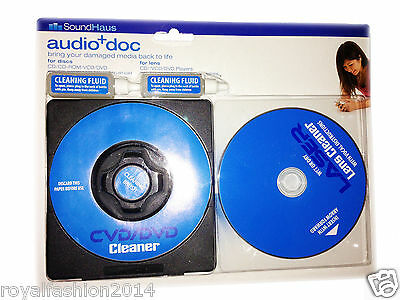 CD DVD Cleaner & Wet/Dry lens Cleaner With 2x Cleaning Fluid Included