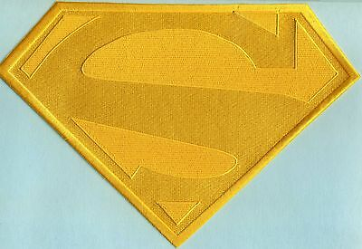 """7.8"""" x 11.75""""  X-Large Embroidered Superman New 52 All Yellow Cape Logo Patch"""
