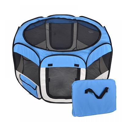New Medium Pet Dog Cat Tent Playpen Exercise Play Pen Soft Crate T08M Blue