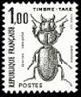 "FRANCE STAMP TIMBRE TAXE N° 106 "" INSECTES , COLEOPTERES 1F"" NEUF xx TTB"