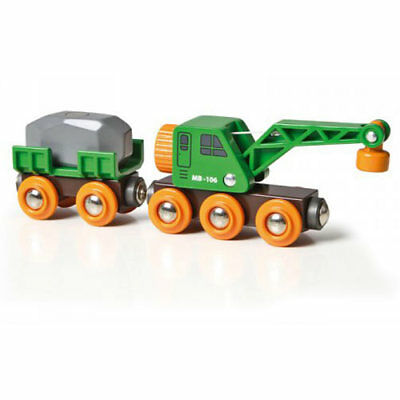 BRIO 33698 Clever Crane Wagon for Wooden Train Set