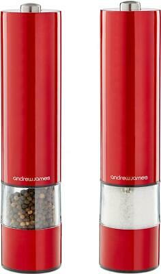 Andrew James Red Electronic Salt Pepper Mill Pot Electric Spice Shakers Grinder