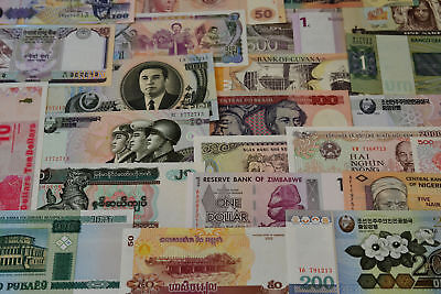 25 Different World Banknotes Uncirculated Intl Currency