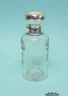 English Sterling Silver Mounted Glass Perfume Scent Bottle