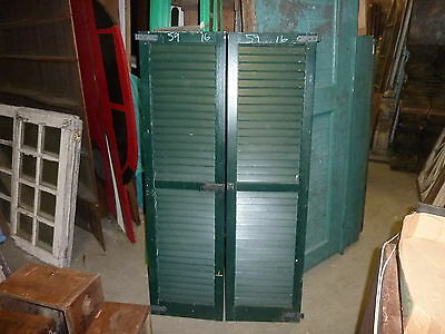 "PaiR vintage c1940 louvered house window SHUTTERS green 59"" h & 16"" w hardware"